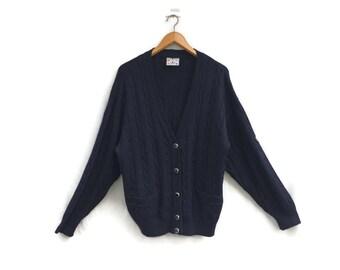 Men's Cardigan //  Mens Wool Cardigan Merino Wool Navy Blue Cardigan 90'Cable Knit Sweater Casual Cardigan Menswear Knitwear, Size Large