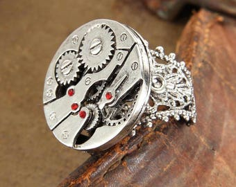 Steampunk Ring/Ring/Rings/Adjustable Ring/Adjustable Rings/Silver Ring/Silver Rings/Jewelry/Watch Parts/Gears/Steampunk/Watch/Watches
