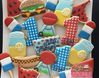 Picnic BBQ Birthday Custom Decorated Cookies