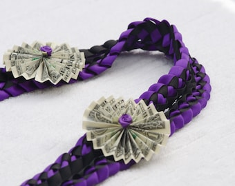 Graduation Money Lei, Ribbon Lei, Braided Stole, Folded Dollars, Graduation Necklace, Birthdays