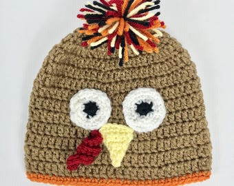 Turkey hat, thanksgiving hat, crochet, goblin, Beanie hat, Baby, Child, Kid, Adult, Women, Men, Girl, Boy, Fall winter
