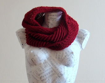 Handmade scarf red wool scarf knit scarf cowl hand knit scarf hand knit cowl scarf  knit snood red snood wool scarf woman accessories
