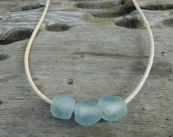 Sky Blue Recycled Glass Necklace, Fair Trade Beads