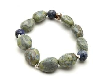 Blue Green Czech Glass Chunky Pebble Minimalist Beaded Bracelet   Dumortierite for Her Under 80 Free Gift Wrap Nature Lover Mom Girlfriend