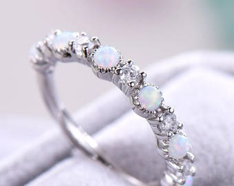 Opal Engagement Ring 925 Sterling Silver 14k White Gold CZ Diamond Women Wedding Stacking Band Minimalist Bridal Promise Anniversary Gift