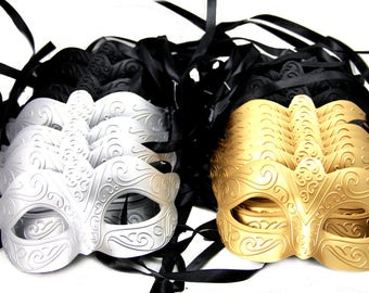 New Years Box of Assorted Party Masks: Black, Silver & Gold - 24Pcs BEST VALUE!