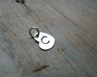 Add On Personalized Initial Silver Heart Charm - Sterling, Monogram Pendant, Custom Initial Disc, Initial Pendant, Valentines Jewelry