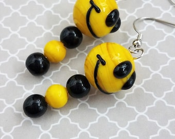 Handmade Yellow and Black Glass Smiley Face Bumble Bee Dangle Earrings on Nickel Free Fish Hooks