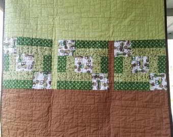 Boy/Toddler green and brown quilt with dump truck print