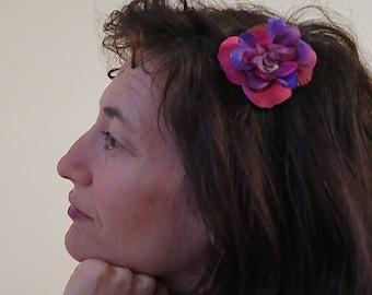 "Fabric flower brooch-clip-barrette ""Almost winter"" N 13"
