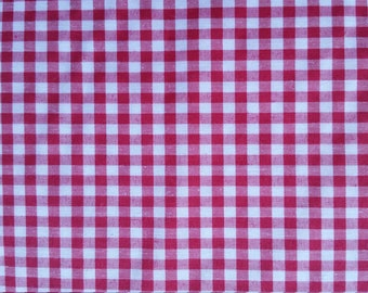 "MINI  CHECKERED GINGHAM 1/4 Inch Poly Cotton Printed Fabric - Fuchsia- 57""/59"" Width Sold By The Yard"