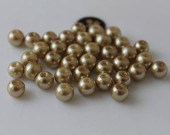 50 Golden Pearl round 8 mm beads - jewelry