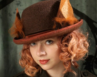 Bowler Hat With Fox Ears - Brown Bowler Hat - Fox Ears - Bowler Hat - Hand Felted Hat - Brown Hat