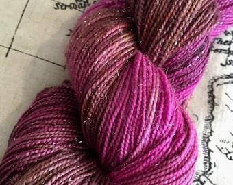 Turkish delight, hand dyed yarn, 4ply, stellina, sparkle yarn, superwash merino