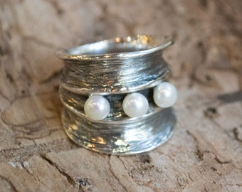 Fresh Water Pearls Ring, Wide Silver Band, sterling silver band, oxidized silver ring, statement ring - Bubbling emotions 2- R1483-2