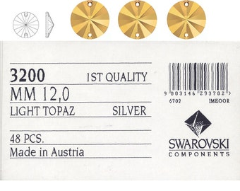 Swarovski 3200 12mm assorted  colours Sew on Stone.  Price is for 10 pieces SPECIAL OFFER FOR 72 Pcs