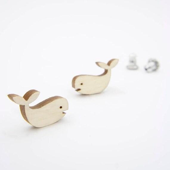 Modern Birch Whale Stud Earrings