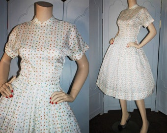 Vintage 50's Dress. White with Design in Blue, Orange and Green. Full skirt and Mandarin Collar.