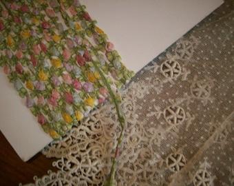 Authentic ribbon work silk ribbon antique  garland