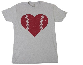 Heart Baseball Stitch Tshirt, Funny Humor Novelty Shirt Saying , Womens Shirt Saying
