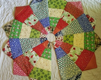 Quilted Handmade Christmas Tree Skirt, Quilted Christmas Tree Skirt, Quilted Tree Skirt