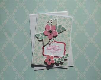 Pretty in Pink Birthday Card 1589 FREE SHIPPING
