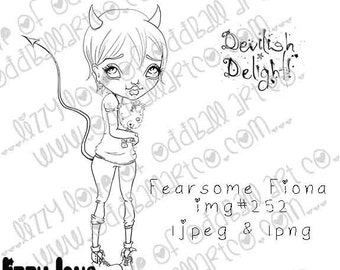 INSTANT DOWNLOAD Digi Stamp Includes Sentiment Kawaii Spooky Devil Girl and Teddy Fearsome Fiona ~ Image No.252 by Lizzy Love