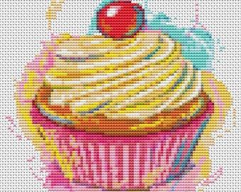 Cupcake Cross Stitch Chart, Yummy Cupcake Cross Stitch Pattern PDF, Art Cross Stitch, Kitchen Series, Embroidery Chart