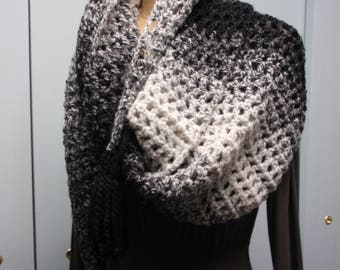 Crochet Filet Stitch Long Scarf Shawl with Tassels in Black and Gray