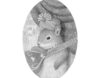 Squirrel Drawing Black and White Pencil Nature Cute
