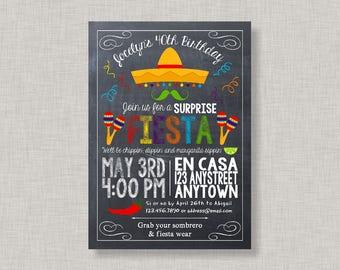 Surprise Fiesta Invitation, Fiesta Birthday Invitation, Fiesta Birthday Party, Cinco de Mayo, Surprise Birthday Invitation, Surprise Party