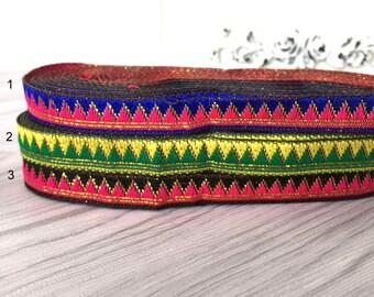 1 x metre triangle 10mm geometric ethnic embroidered Ribbon trim
