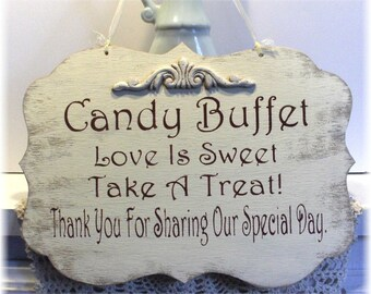 Wedding Sign Candy Buffet Wood White Shabby Custom Photo Prop Aisle Flower Girl Ring Bearer