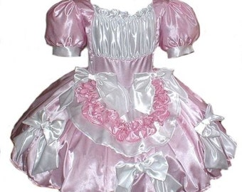 Satin Sissy Dress with Ruffles & Bows Pink and White Satin Cute Swiss Maid Adults Custom Size including Plus Sizes Crossdresser