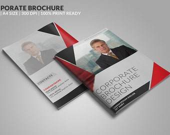 8 Page Corporate Bifold Brochure PSD Template  | Instant Download