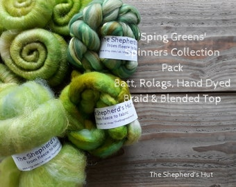 Spinning Collection 'Spring Greens' Batt, Rolags, Blended Top and Braid 200 g for spinning and fibre craft.