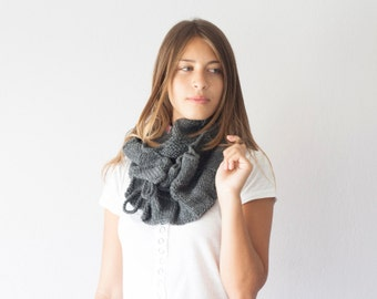 Sales Knit scarf grey cowl neckwarmer in dark grey with ruffles long scarf neck warmer loop scarf scarf with pleats