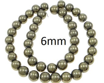 20 Pieces 6mm Gold Pyrite Beads