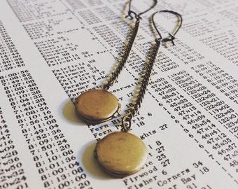 locket earrings   brass locket and chain earrings