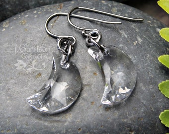 Crystal Crescent Moon earrings- gunmetal earwires - Swarovski crystal - Mystical- Magic -free shipping in USA