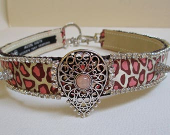 18 Inch Pet Dog Collar Necklace Jewelry Beige Pink Spotted Rhinestones Spikes