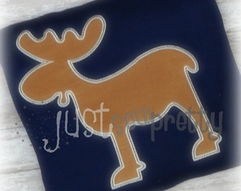 Moose Silhouette Woodland Embroidery Applique Design