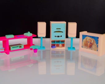 Mattel 1994 Barbie So Much To Do Vintage Living Room Electronics TV Sideboard  Childhood Toys