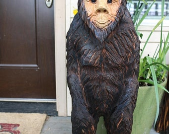 2018 Pre Sale Jun/jul Delivery Only New Chainsaw Carved BigFoot Yeti Sasquatch 20 to 24 inches tall cedar wood stump burned art hand carved