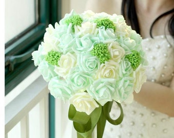 Bridal Bouquet white and green artificial flowers