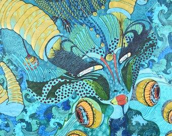 In a mirror, 2017,97 cm * 70 cm, ink, crayon, fiber painter, gel on rice paper