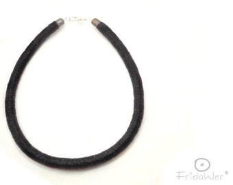 Black Choker with clasp for women and men Rope textile jewelry gifts unisex Accessories for Spring for her Birthday ideas gifts for brothers