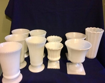 RESERVED for SONG - 13 Pieces of Milk Glass Large Vases, Footed Urns, Planter
