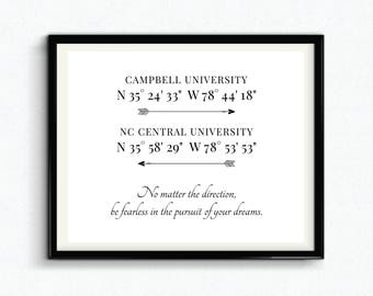 Personalized Graduation Gift, Custom University GPS Coordinates, Digital Download, College Coordinates, Longitude And Latitude Sign - (D188)