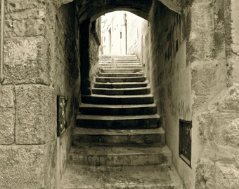 Italy Photograph Trani Staircase Fine Art Print, Europe Travel, Tan and Neutral Stairway, Tunnel of Stone, Path, Light and Structure, Sepia